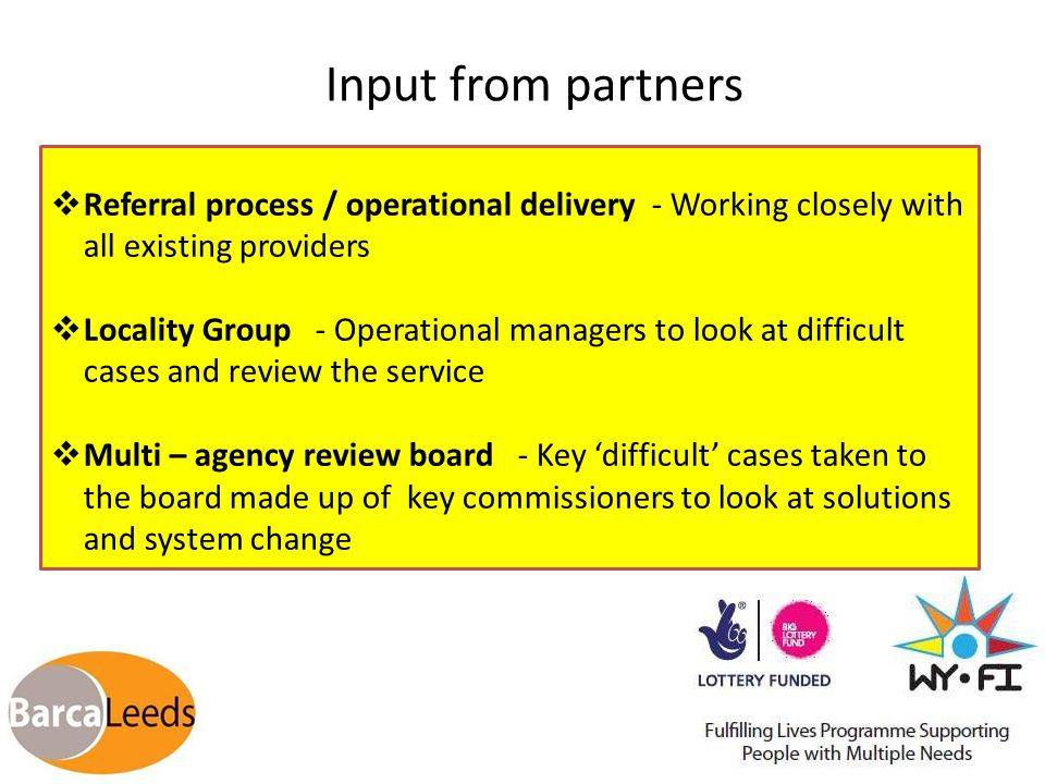 Input from partners  Referral process / operational delivery - Working closely with all existing providers  Locality Group - Operational managers to