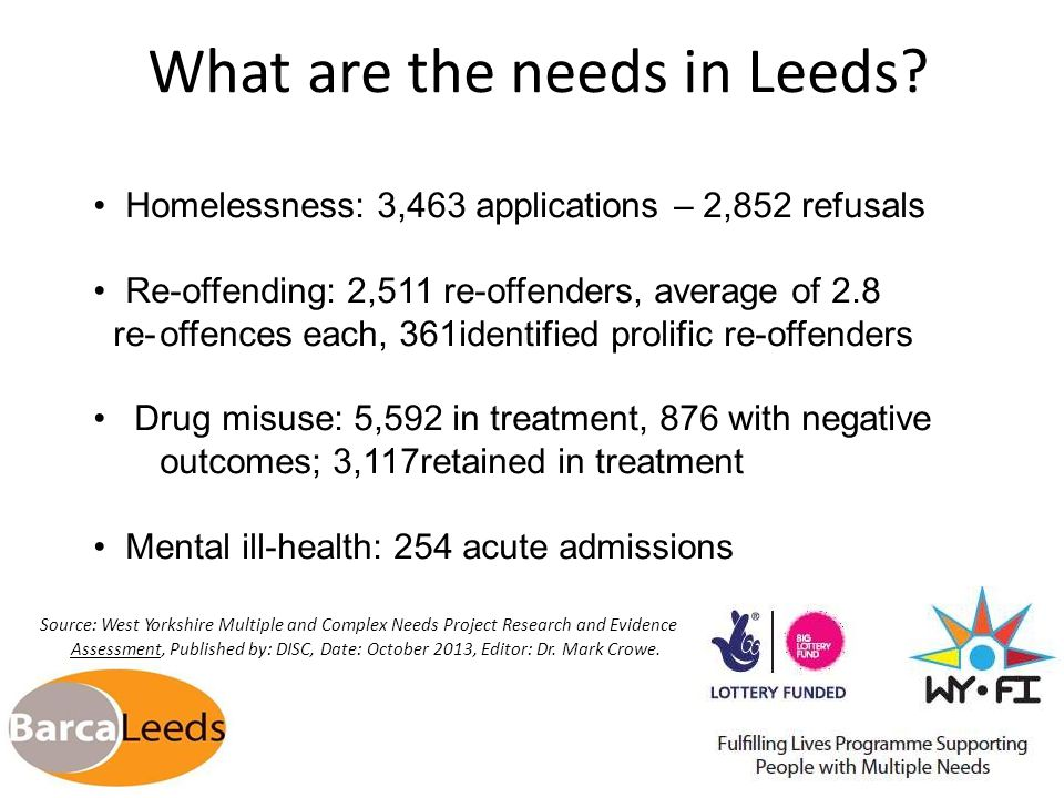 Defining Multiple Needs Individuals not engaging or excluded from services who experience at least 3 of the following; Homelessness Addiction (problematic substance misuse) Re-offending behaviour Mental ill health