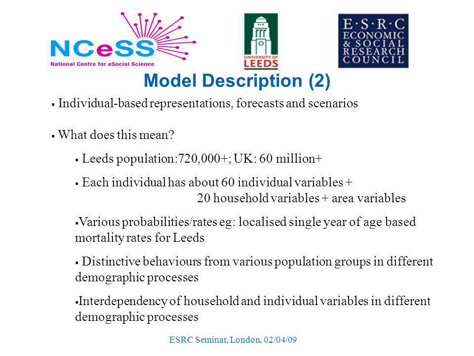 ESRC Seminar, London, 02/04/09 Model Description (2)  Individual-based representations, forecasts and scenarios  What does this mean.