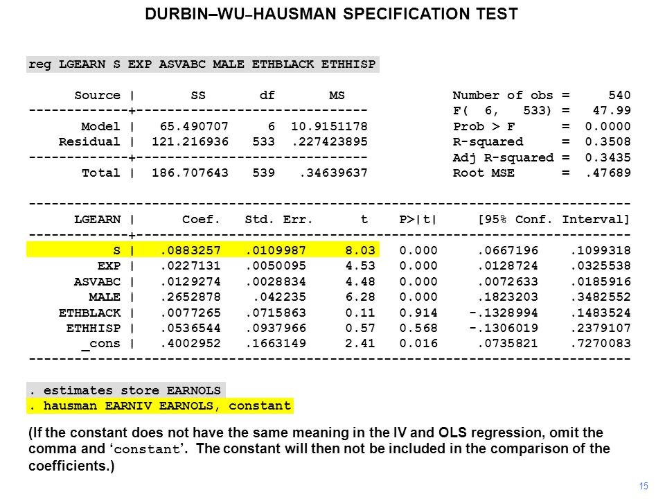 15 DURBIN–WU – HAUSMAN SPECIFICATION TEST (If the constant does not have the same meaning in the IV and OLS regression, omit the comma and ' constant '.