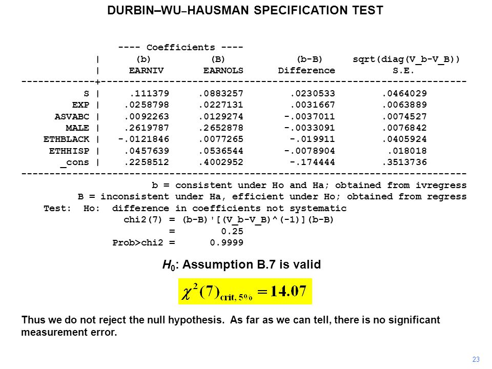 23 Thus we do not reject the null hypothesis.