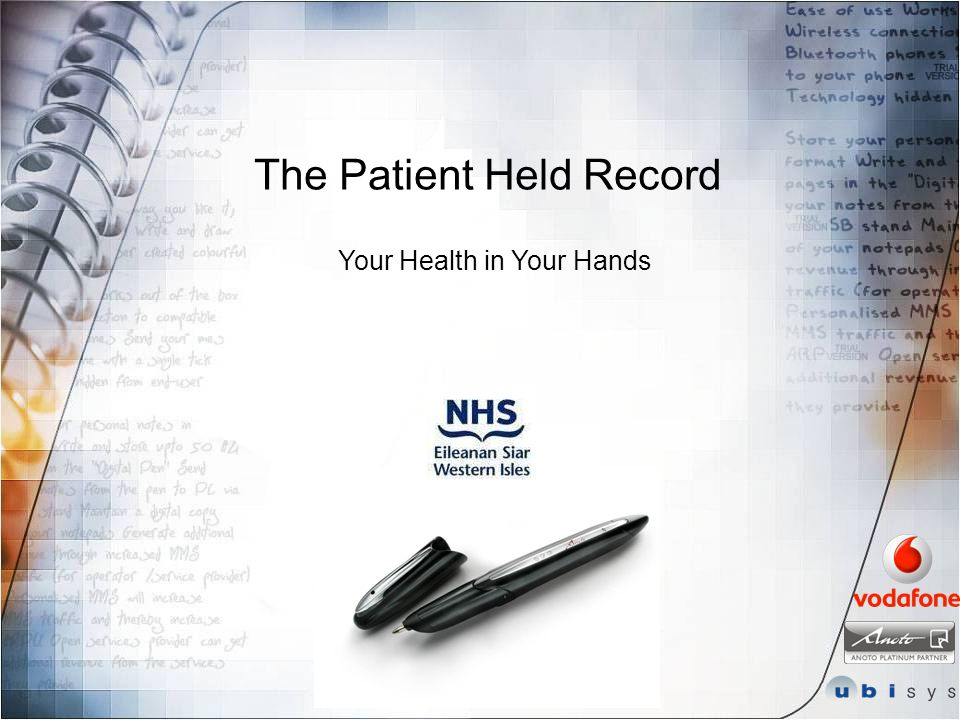 The Patient Held Record Your Health in Your Hands