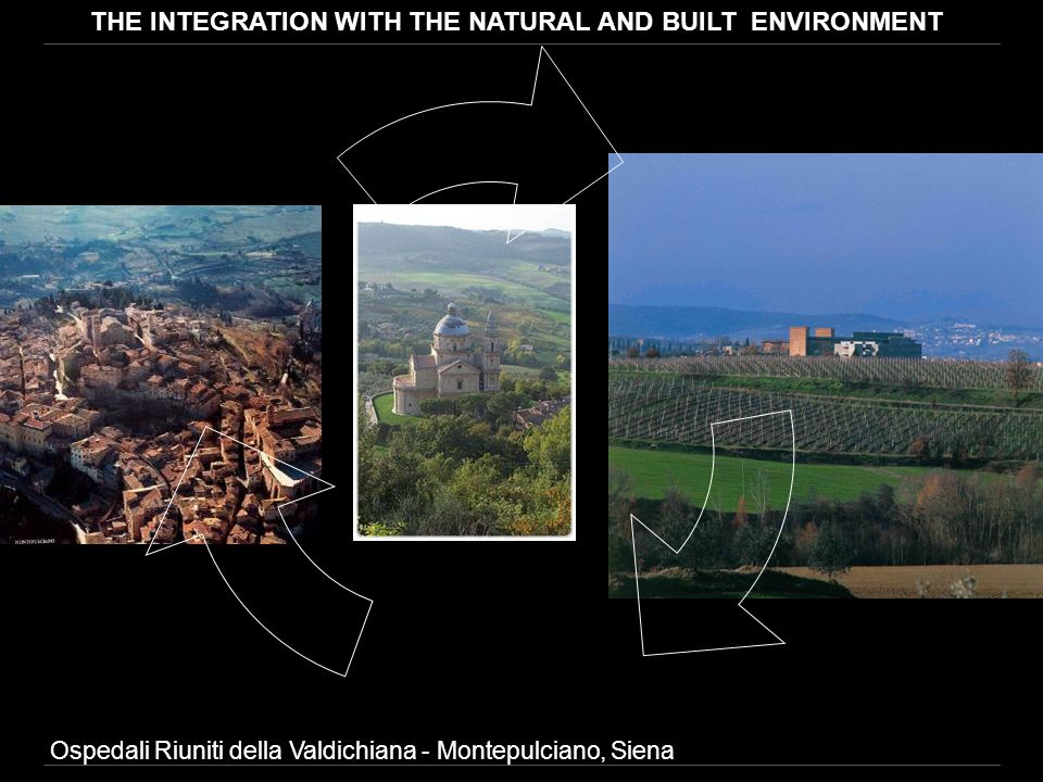 Ospedali Riuniti della Valdichiana - Montepulciano, Siena THE INTEGRATION WITH THE NATURAL AND BUILT ENVIRONMENT