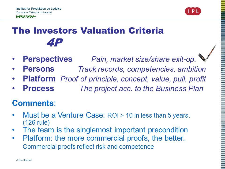 Institut for Produktion og Ledelse Danmarks Tekniske Universitet John Heebøll VÆKSTHUS+ The Investors Valuation Criteria 4P Perspectives Pain, market size/share exit-op.