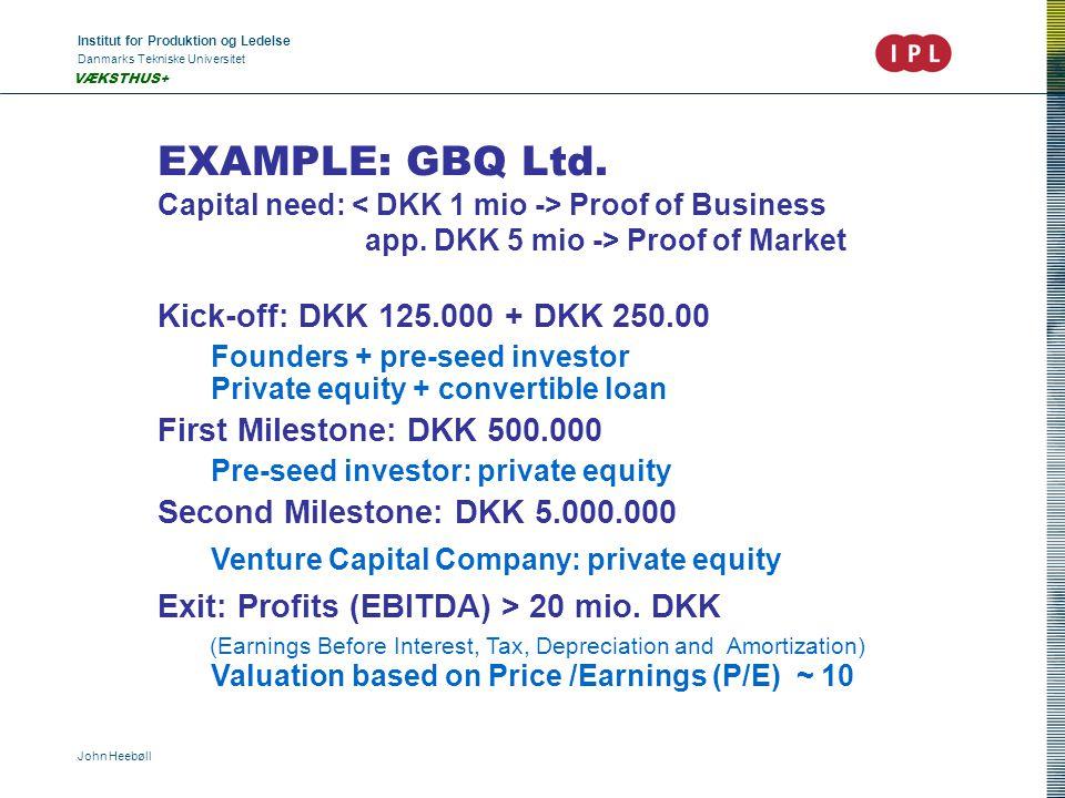 Institut for Produktion og Ledelse Danmarks Tekniske Universitet John Heebøll VÆKSTHUS+ EXAMPLE: GBQ Ltd.