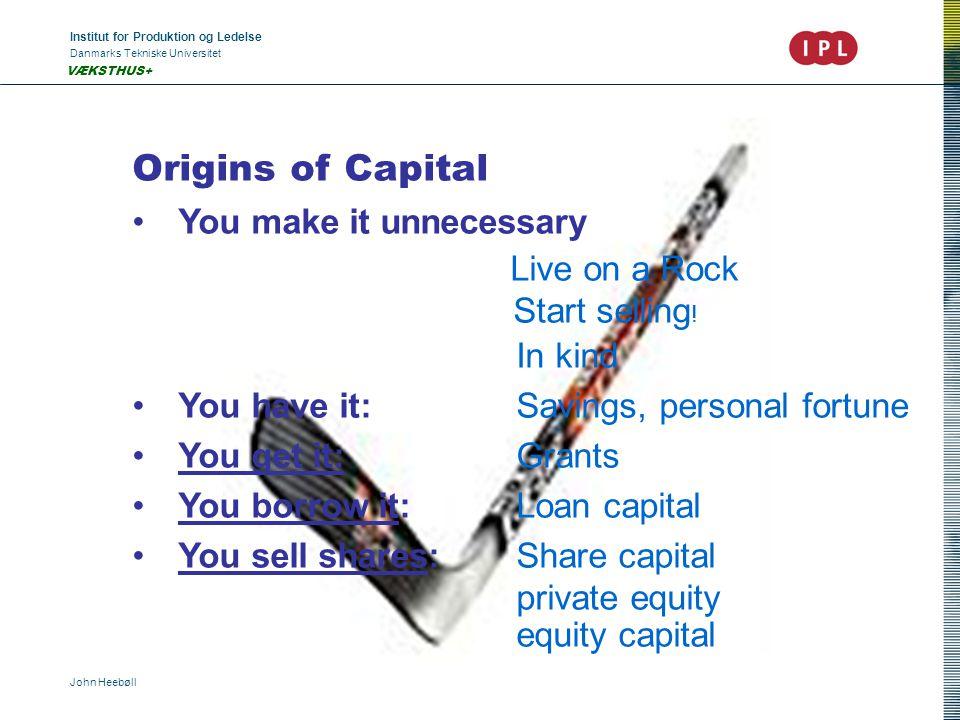 Institut for Produktion og Ledelse Danmarks Tekniske Universitet John Heebøll VÆKSTHUS+ Origins of Capital You make it unnecessary Live on a Rock Start selling .