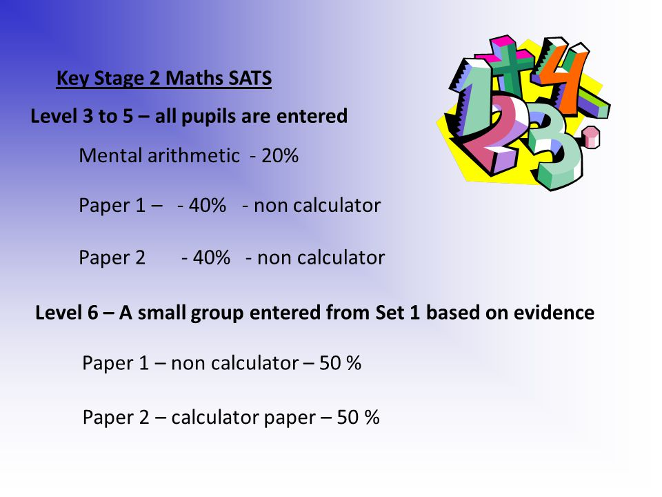 Key Stage 2 Maths SATS Mental arithmetic - 20% Paper 1 – - 40% - non calculator Paper % - non calculator Level 3 to 5 – all pupils are entered Level 6 – A small group entered from Set 1 based on evidence Paper 1 – non calculator – 50 % Paper 2 – calculator paper – 50 %