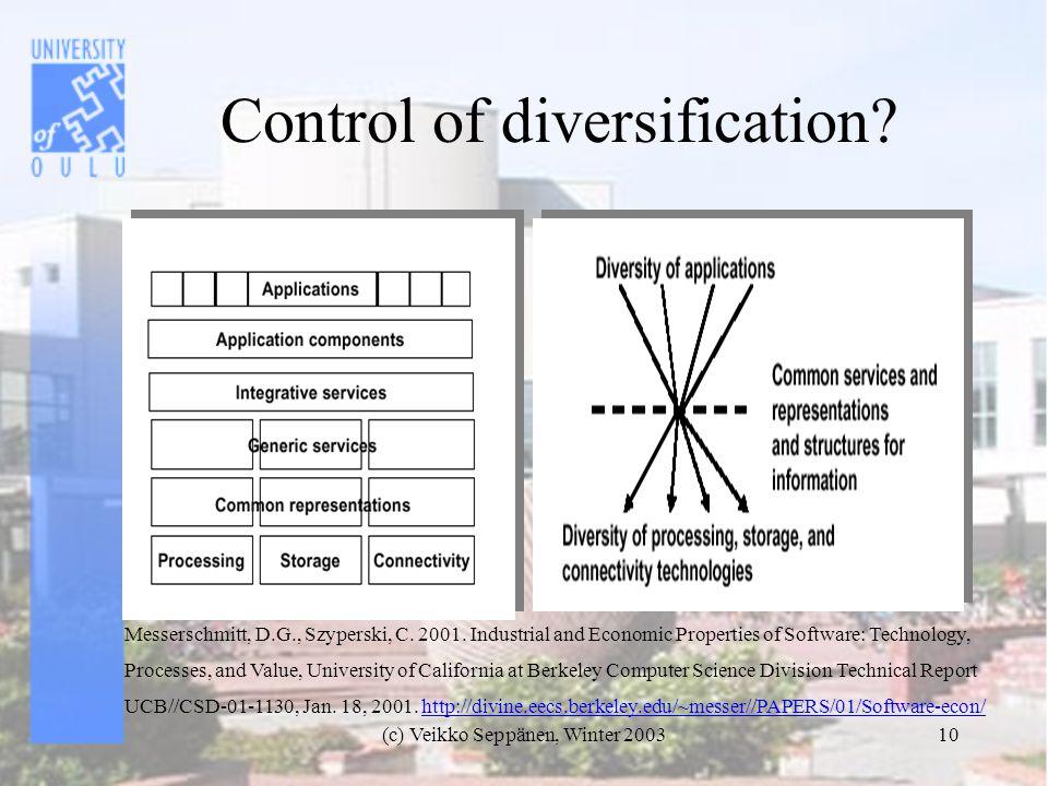 (c) Veikko Seppänen, Winter 200310 Control of diversification.