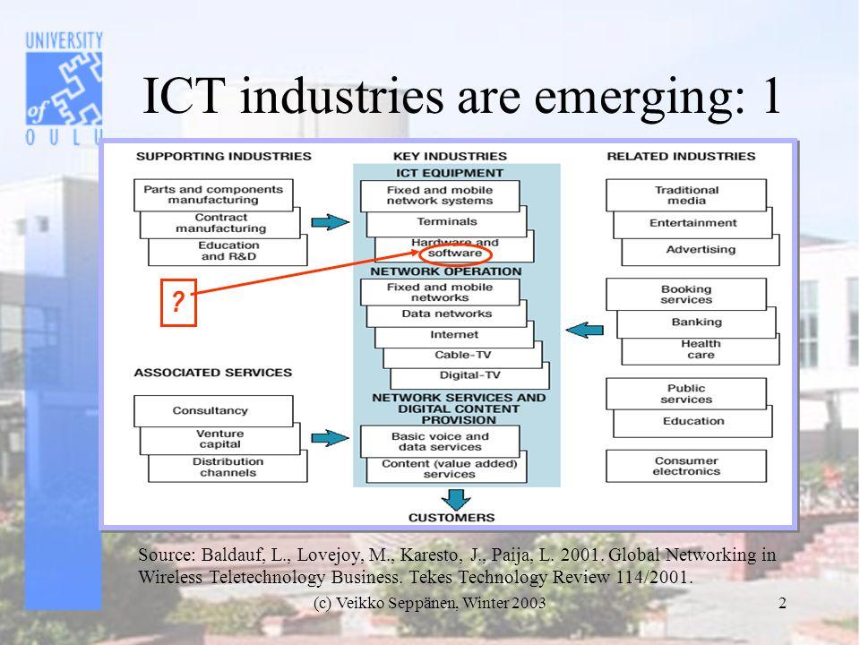 (c) Veikko Seppänen, Winter 20032 ICT industries are emerging: 1 Source: Baldauf, L., Lovejoy, M., Karesto, J., Paija, L.