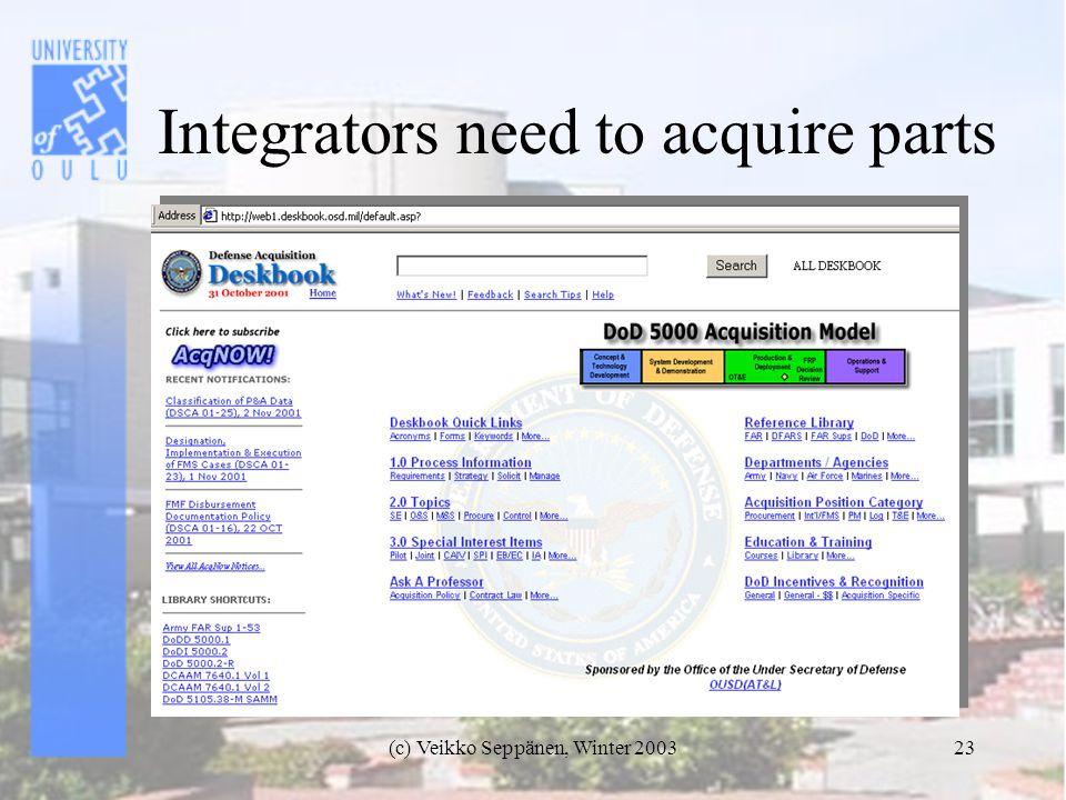 (c) Veikko Seppänen, Winter 200323 Integrators need to acquire parts