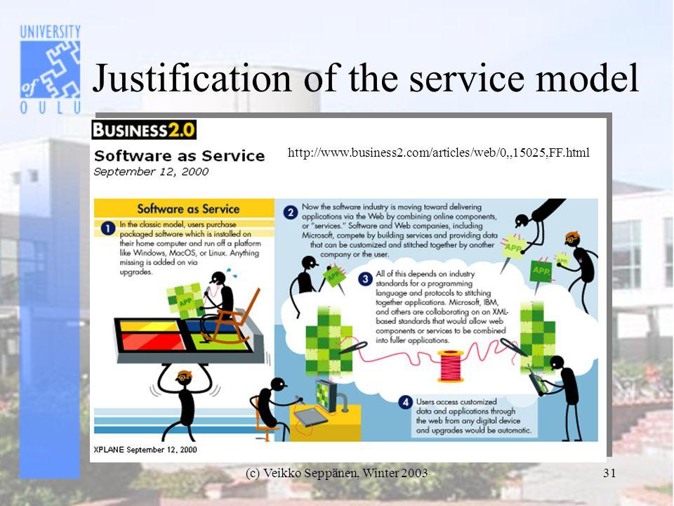 (c) Veikko Seppänen, Winter 200331 Justification of the service model http://www.business2.com/articles/web/0,,15025,FF.html