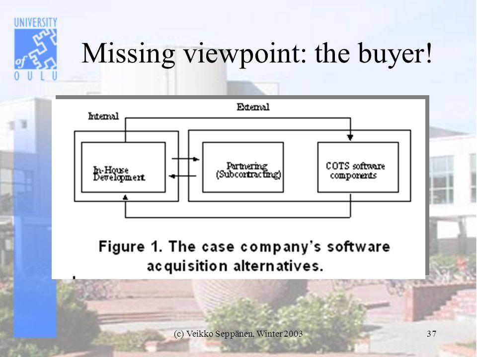 (c) Veikko Seppänen, Winter 200337 Missing viewpoint: the buyer!