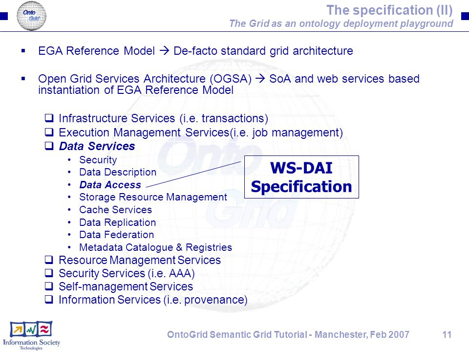 11OntoGrid Semantic Grid Tutorial - Manchester, Feb 2007 The specification (II) The Grid as an ontology deployment playground  EGA Reference Model 
