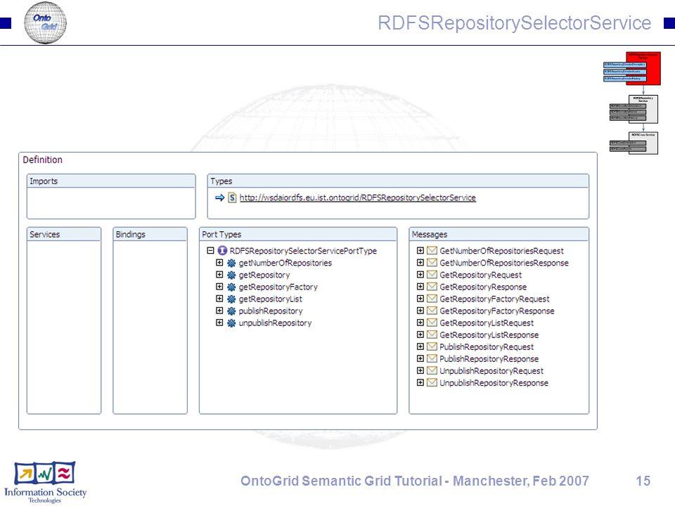15OntoGrid Semantic Grid Tutorial - Manchester, Feb 2007 RDFSRepositorySelectorService