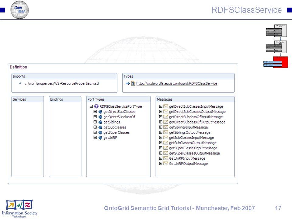 17OntoGrid Semantic Grid Tutorial - Manchester, Feb 2007 RDFSClassService