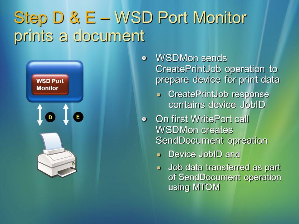 Step D & E – WSD Port Monitor prints a document D E WSD Port Monitor WSDMon sends CreatePrintJob operation to prepare device for print data CreatePrin