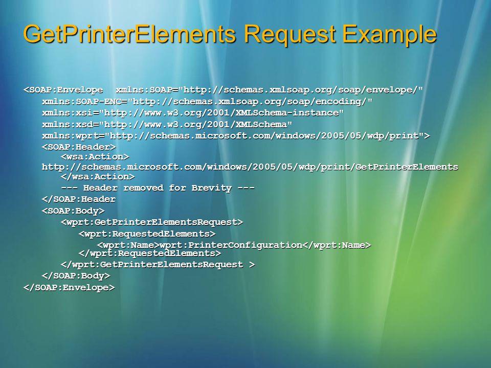 GetPrinterElements Request Example <SOAP:Envelope xmlns:SOAP=
