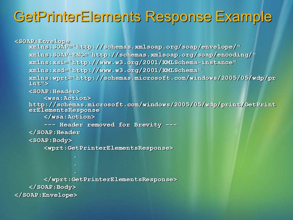 GetPrinterElements Response Example <SOAP:Envelope xmlns:SOAP=