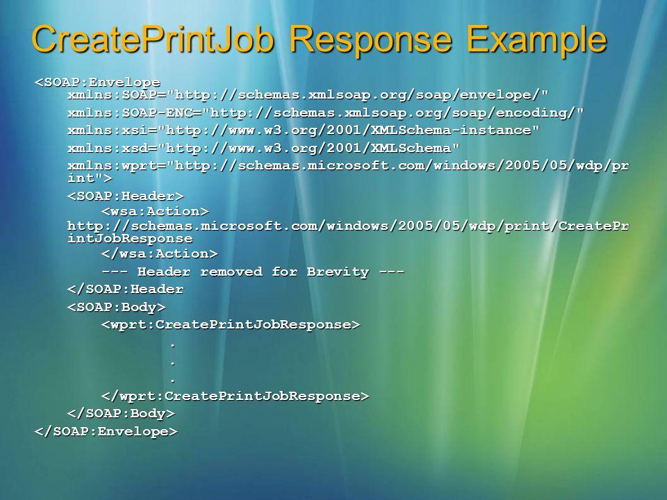 CreatePrintJob Response Example <SOAP:Envelope xmlns:SOAP=