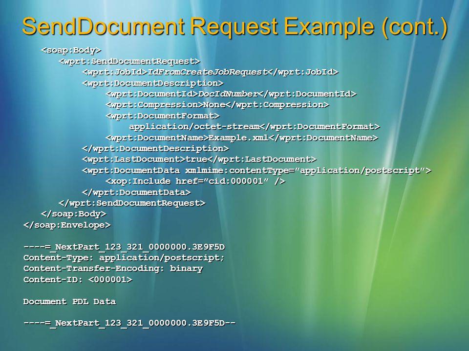 SendDocument Request Example (cont.) <soap:Body><wprt:SendDocumentRequest> IdFromCreateJobRequest IdFromCreateJobRequest <wprt:DocumentDescription> Do