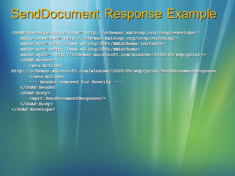 SendDocument Response Example <SOAP:Envelope xmlns:SOAP=