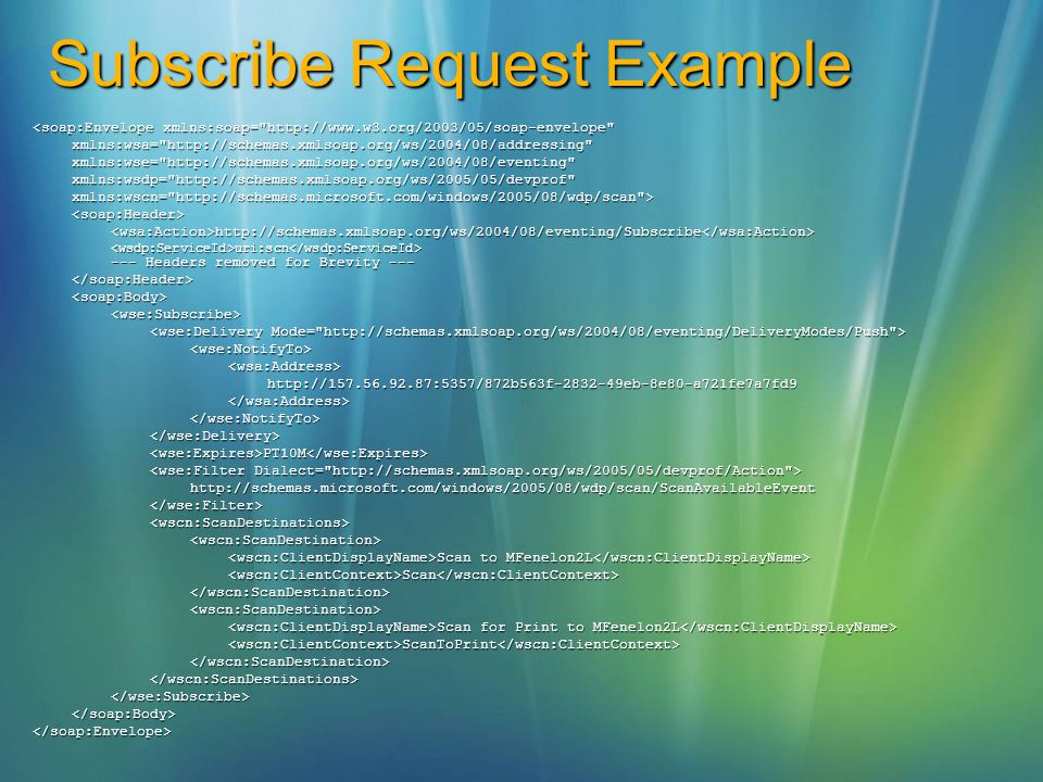Subscribe Request Example <soap:Envelope xmlns:soap=