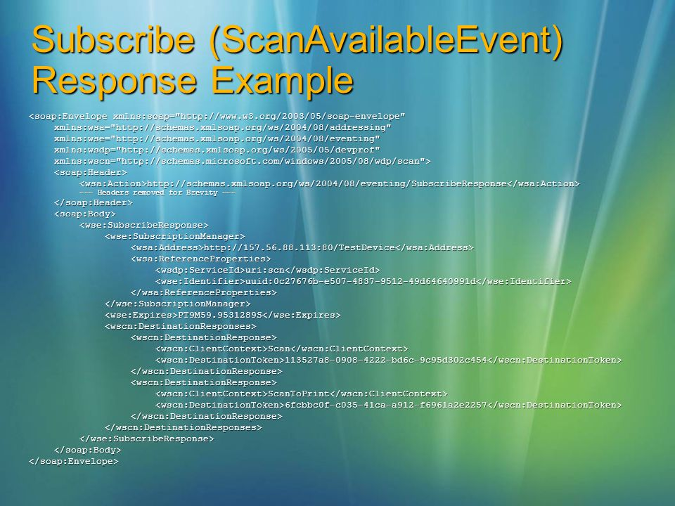 Subscribe (ScanAvailableEvent) Response Example <soap:Envelope xmlns:soap=