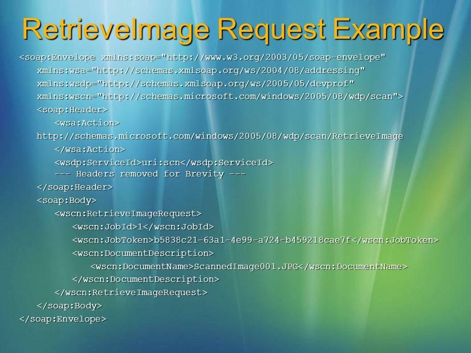 RetrieveImage Request Example <soap:Envelope xmlns:soap=