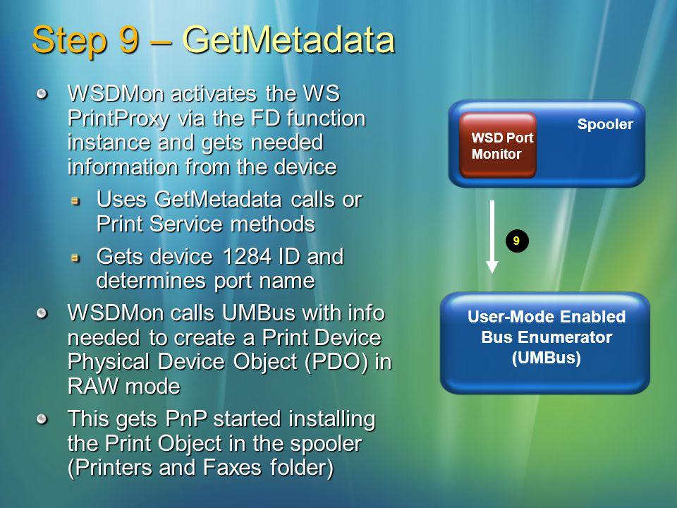 Step 9 – GetMetadata 9 Spooler WSD Port Monitor User-Mode Enabled Bus Enumerator (UMBus) WSDMon activates the WS PrintProxy via the FD function instan
