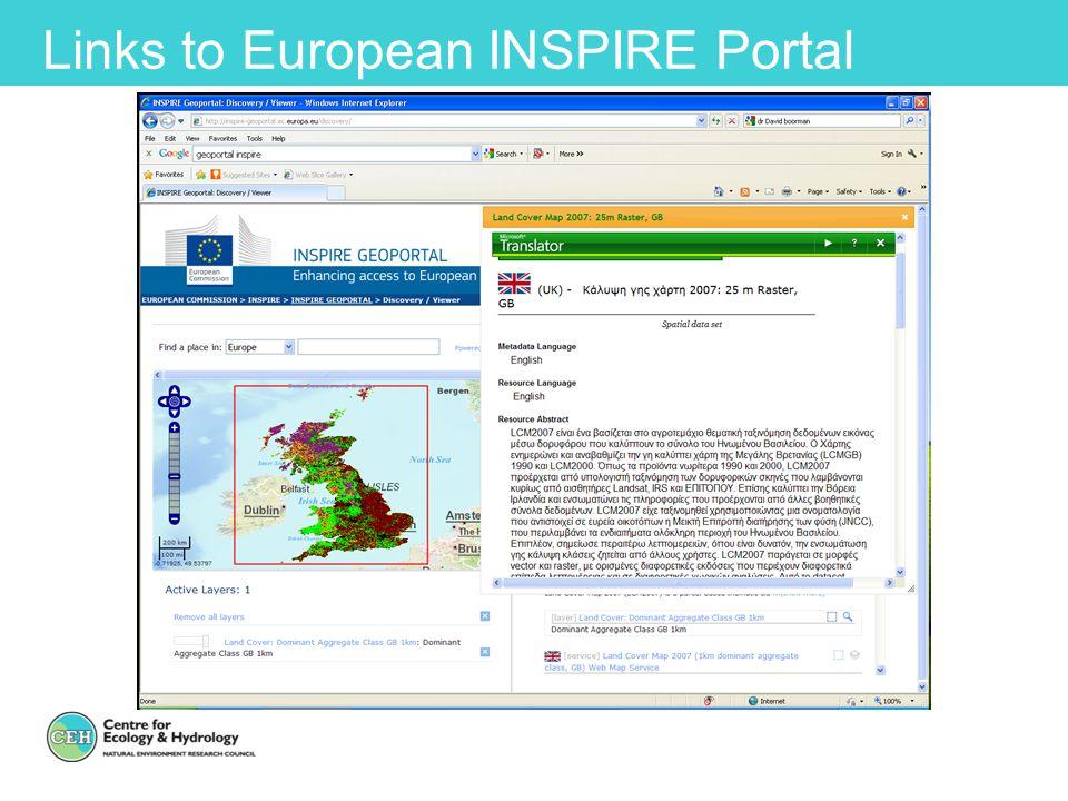 Links to European INSPIRE Portal