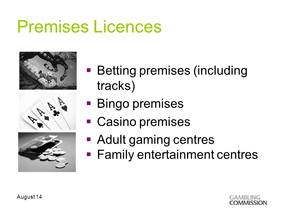 Premises Licences  Betting premises (including tracks)  Bingo premises  Casino premises  Adult gaming centres  Family entertainment centres August 14