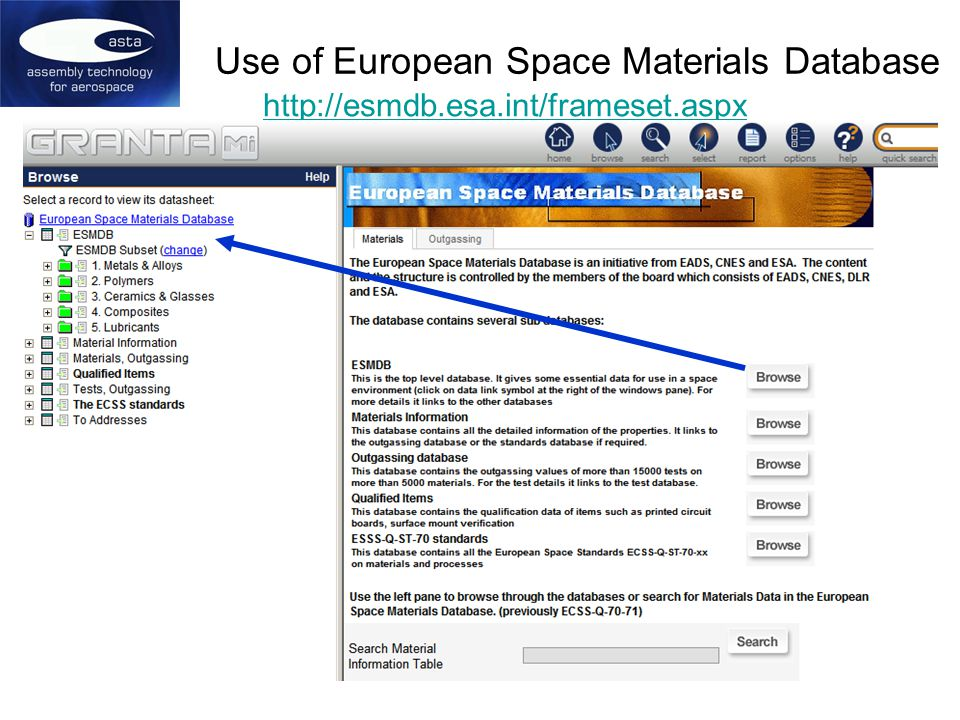 Use of European Space Materials Database