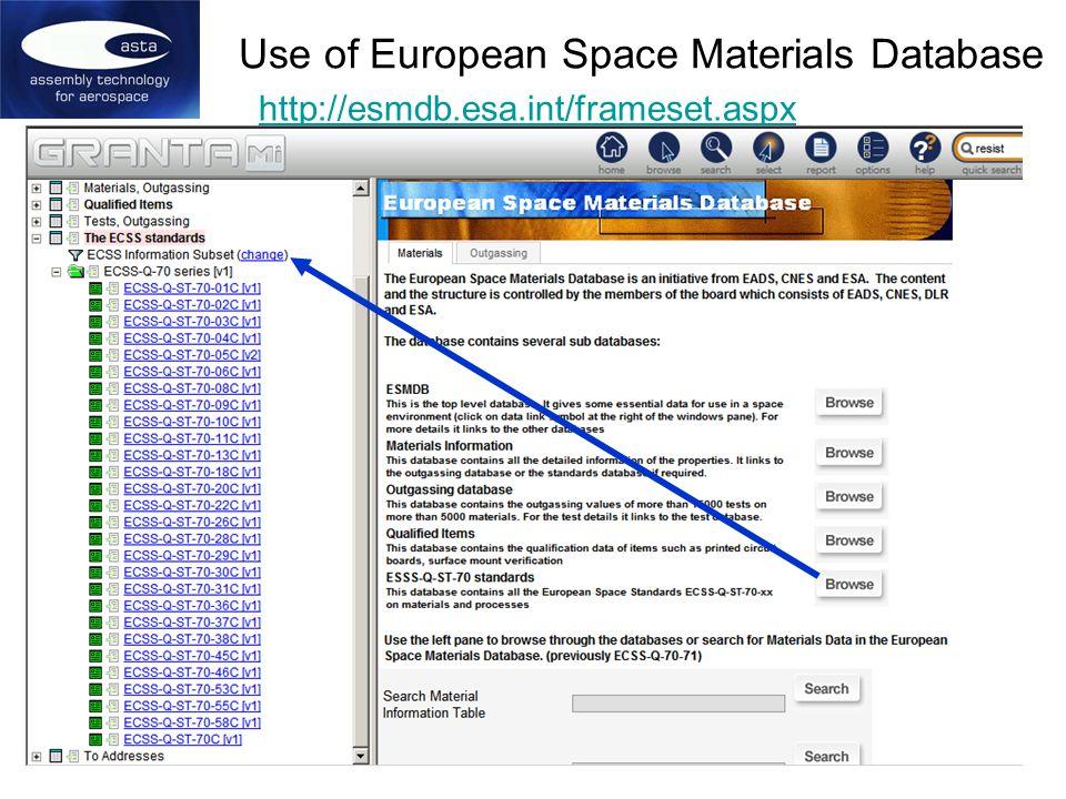 Use of European Space Materials Database http://esmdb.esa.int/frameset.aspx