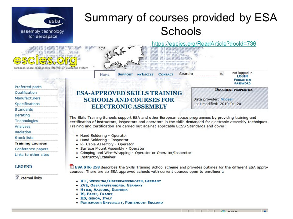 Summary of courses provided by ESA Schools   docId=736