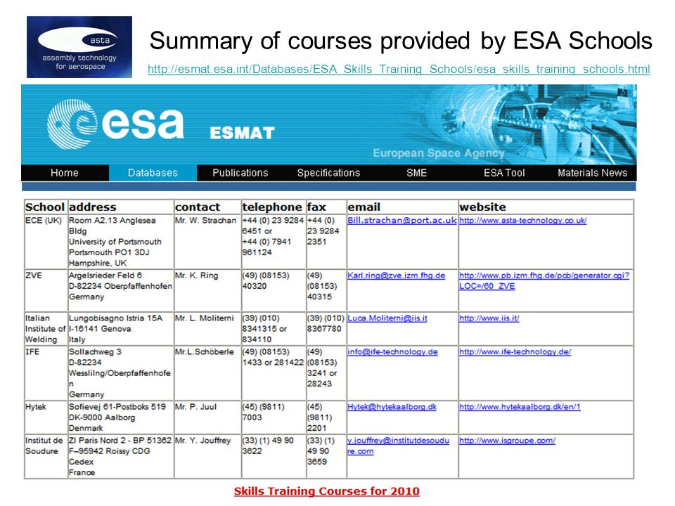 http://esmat.esa.int/Databases/ESA_Skills_Training_Schools/esa_skills_training_schools.html