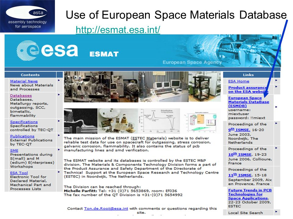 Use of European Space Materials Database http://esmat.esa.int/
