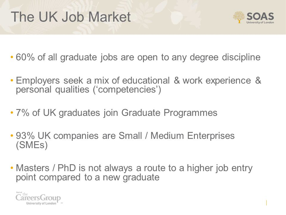 The UK Job Market 60% of all graduate jobs are open to any degree discipline Employers seek a mix of educational & work experience & personal qualities ('competencies') 7% of UK graduates join Graduate Programmes 93% UK companies are Small / Medium Enterprises (SMEs) Masters / PhD is not always a route to a higher job entry point compared to a new graduate
