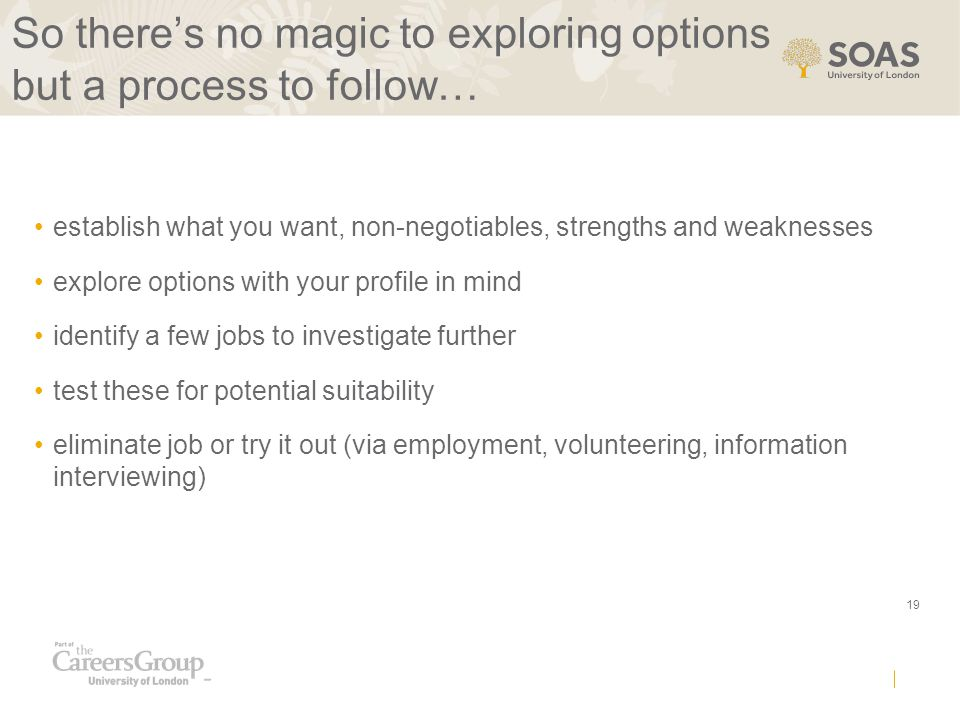 19 So there's no magic to exploring options but a process to follow… establish what you want, non-negotiables, strengths and weaknesses explore options with your profile in mind identify a few jobs to investigate further test these for potential suitability eliminate job or try it out (via employment, volunteering, information interviewing)