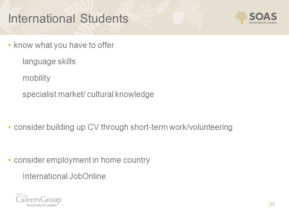 International Students know what you have to offer language skills mobility specialist market/ cultural knowledge consider building up CV through short-term work/volunteering consider employment in home country International JobOnline 23