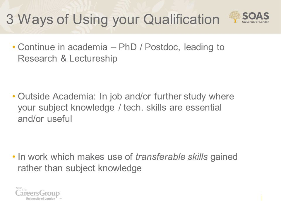 3 Ways of Using your Qualification Continue in academia – PhD / Postdoc, leading to Research & Lectureship Outside Academia: In job and/or further study where your subject knowledge / tech.