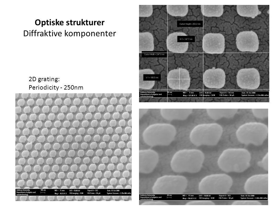 2D grating: Periodicity - 250nm Optiske strukturer Diffraktive komponenter