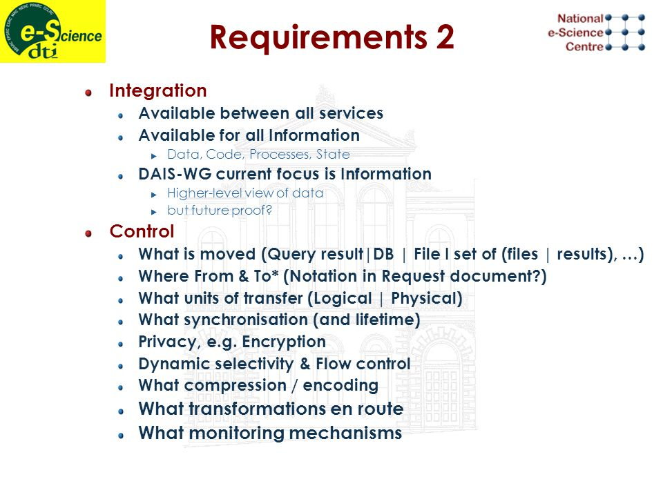 Requirements 2 Integration Available between all services Available for all Information  Data, Code, Processes, State DAIS-WG current focus is Information  Higher-level view of data  but future proof.