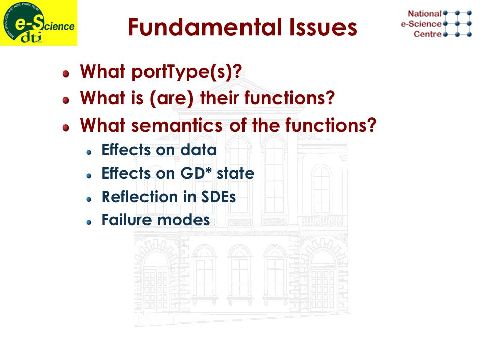 Fundamental Issues What portType(s). What is (are) their functions.