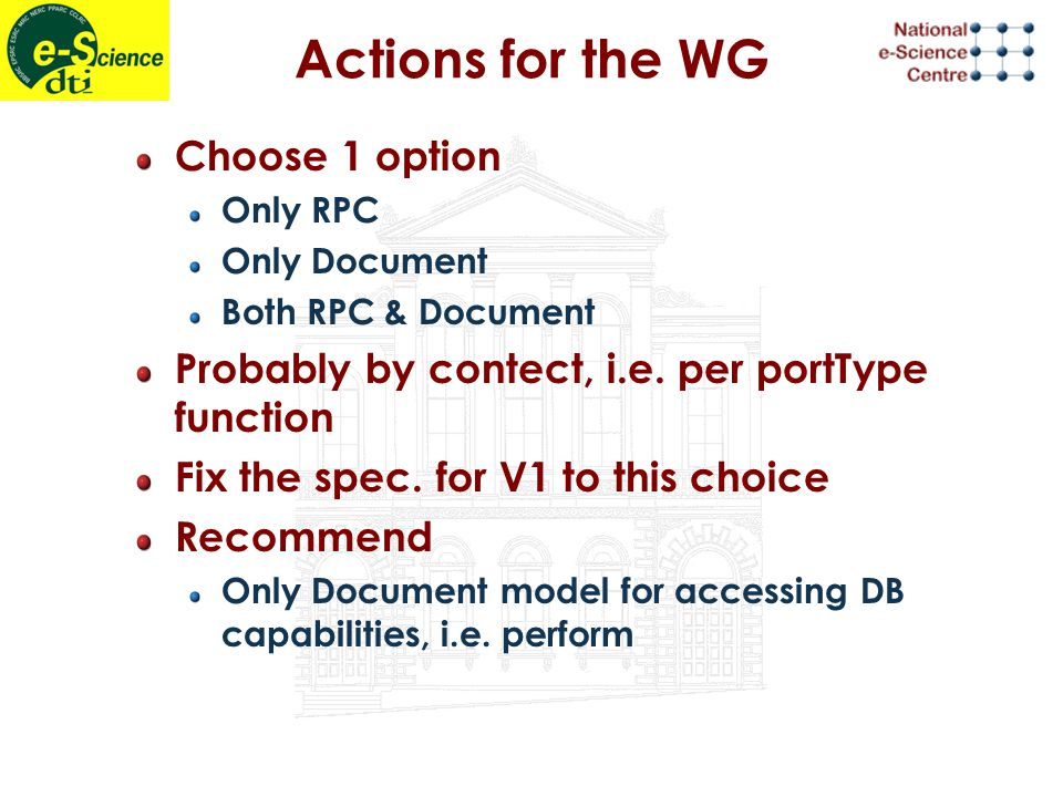 Actions for the WG Choose 1 option Only RPC Only Document Both RPC & Document Probably by contect, i.e.
