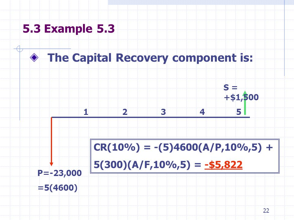 22 5.3 Example 5.3 The Capital Recovery component is: 1 2 3 4 5 P=-23,000 =5(4600) S = +$1,500 CR(10%) = -(5)4600(A/P,10%,5) + 5(300)(A/F,10%,5) = -$5,822