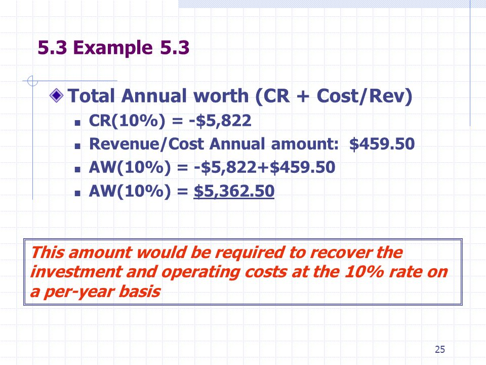 25 5.3 Example 5.3 Total Annual worth (CR + Cost/Rev) CR(10%) = -$5,822 Revenue/Cost Annual amount: $459.50 AW(10%) = -$5,822+$459.50 AW(10%) = $5,362.50 This amount would be required to recover the investment and operating costs at the 10% rate on a per-year basis