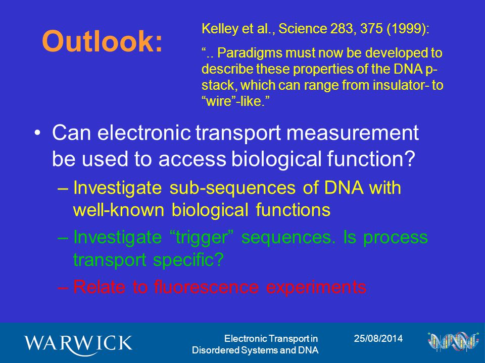 25/08/2014Electronic Transport in Disordered Systems and DNA Outlook: Can electronic transport measurement be used to access biological function.