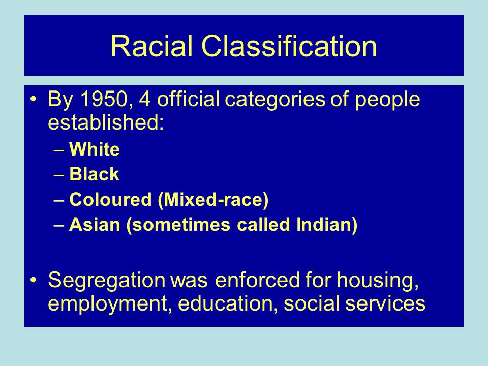 Racial Classification By 1950, 4 official categories of people established: –White –Black –Coloured (Mixed-race) –Asian (sometimes called Indian) Segregation was enforced for housing, employment, education, social services