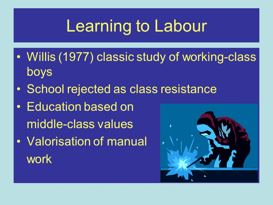 Learning to Labour Willis (1977) classic study of working-class boys School rejected as class resistance Education based on middle-class values Valorisation of manual work