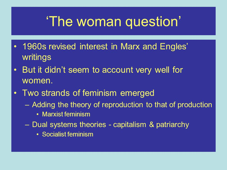 Theory of Reproduction Marxism is based on a divide relating to the relationship to the means of production Bourgeoisie Proletariat Women's domestic work does not fit into this picture